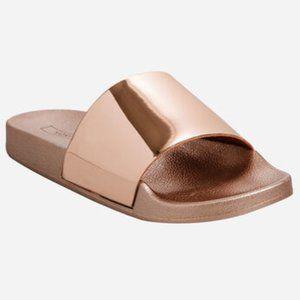 YOKI Metallic Rose Gold Pink Slide Sandal Slipper